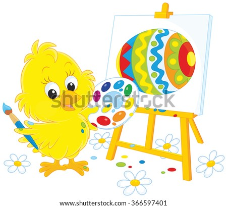 Little yellow chick drawing a colorfully decorated Easter egg - stock vector