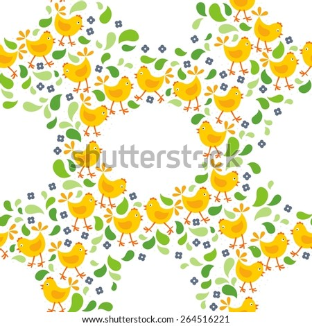little yellow chickens with green leaves and blue flowers Easter spring holidays themed decorative wreath seamless pattern isolated on white background - stock vector