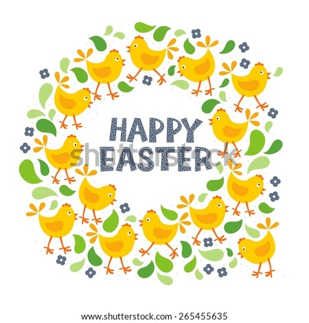 little yellow chickens with green leaves and blue flowers Easter spring holidays themed decorative wreath with wishes in English isolated on white background - stock vector