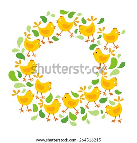 little yellow chickens with green leaves Easter spring holidays themed decorative wreath isolated on white background - stock vector