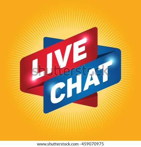 LIVE CHAT arrow tag sign icon.