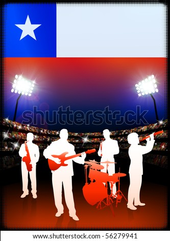Live Music Band with Chile Flag on Stadium Background Original Illustration - stock vector