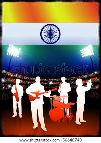 Live Music Band with India Flag on Stadium Background Original Illustration - stock vector