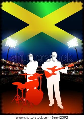 Live Music Band with Jamaica Flag on Stadium Background Original Illustration - stock vector