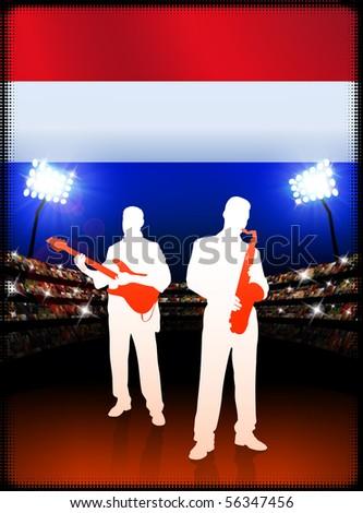 Live Music Band with Netherlands Flag on Stadium Background Original Illustration - stock vector