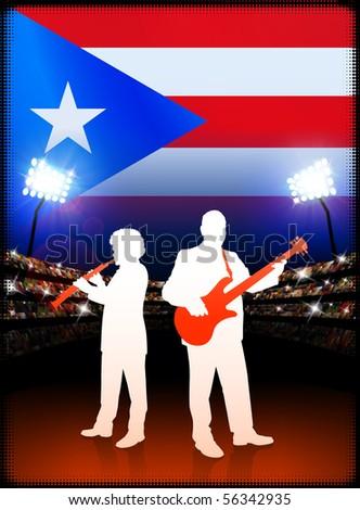 Live Music Band with Puerto Rico Flag on Stadium Background Original Illustration - stock vector
