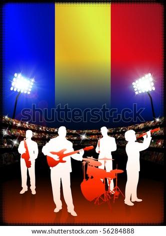 Live Music Band with Romania Flag on Stadium Background Original Illustration - stock vector