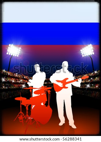 Live Music Band with Russia Flag on Stadium Background Original Illustration