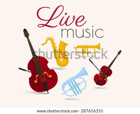 Live music festival poster with classical instruments on beige background - stock vector