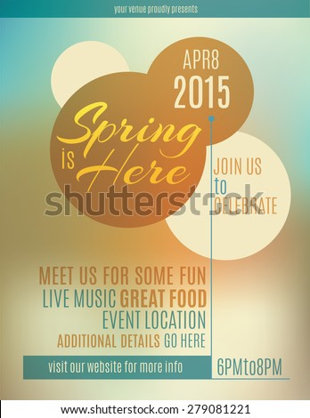 Live music festival spring poster or flyer design template - stock vector