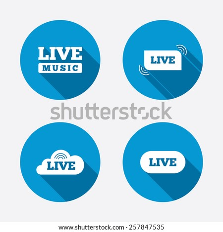 Live music icons. Karaoke or On air stream symbols. Cloud sign. Circle concept web buttons. Vector - stock vector