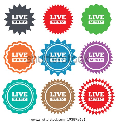 Live music sign icon. Karaoke symbol. Stars stickers. Certificate emblem labels. Vector