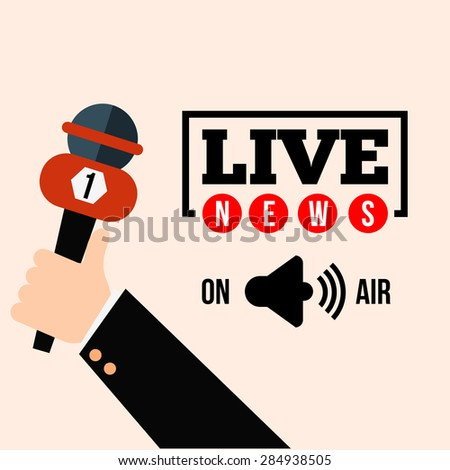 Live news concept vector. Set of hands holding microphones and digital voice recorders. Live report template. Press illustration. - stock vector