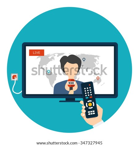 Live News on TV with woman newsreader icon in circle isolated on white background. News of the world. Vector illustration with hand holding remote control - stock vector