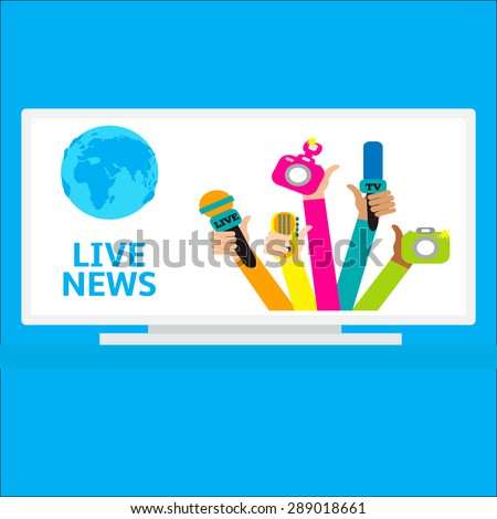 Live report concept, live news - set of hands holding microphones and voice recorders. Breaking news flat style vector illustration. Mass media signs, symbols, objects, icons, abstract elements.