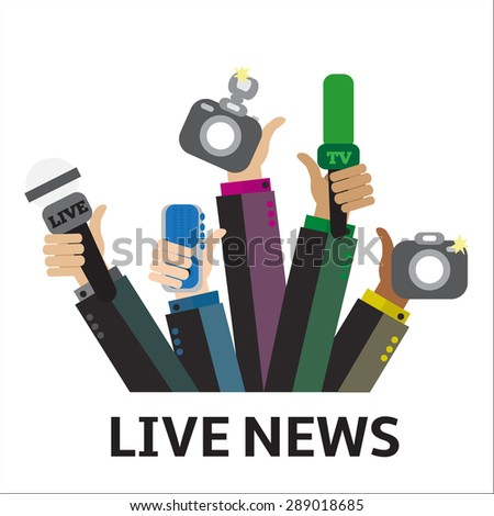 Live report concept, live news - set of hands holding microphones and voice recorders. Breaking news flat style vector illustration. Mass media signs, symbols, objects, icons, abstract elements. - stock vector