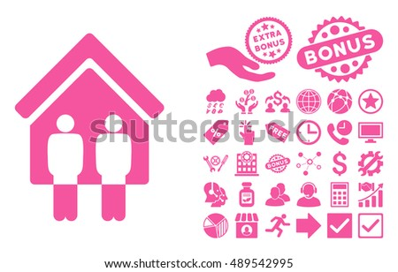 Living Persons pictograph with bonus icon set. Vector illustration style is flat iconic symbols, pink color, white background.