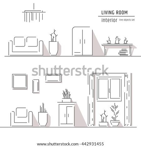 Interior Design Elements Living Room Bedroom Interior Design Elements Stock Vector .