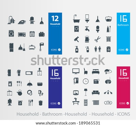 living room , bedroom , kitchen, bathroom equipment set  - stock vector