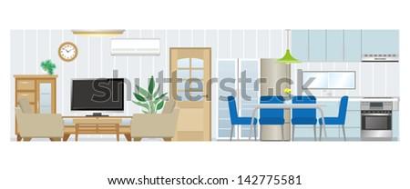Living room / Dining room / Kitchen - stock vector