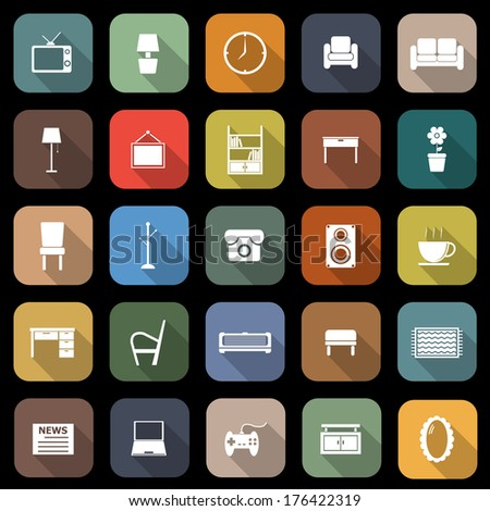 Living room flat icons with long shadow, stock vector - stock vector