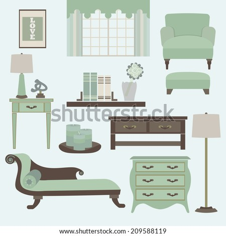 Living room furniture and accessories in color teal- Arm chair, fainting couch, coffee table, side table, chest drawer, and lamps in modern flat design - stock vector