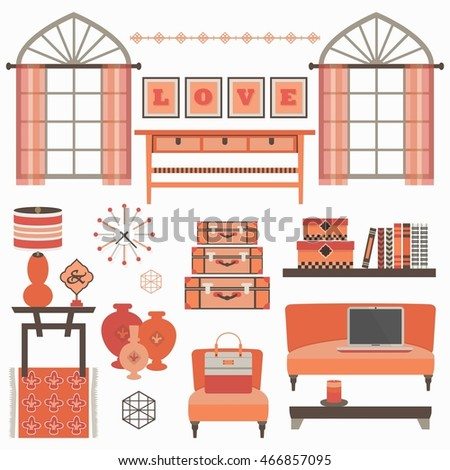 Living Room Furniture And Accessories In Coral With Windows   Chair, Couch,  Coffee Table Part 89