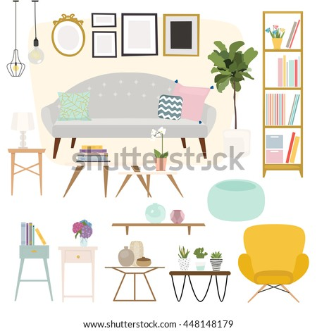 Living room. Furniture and Home Accessories, including sofas, love seat, armchairs, coffee table, side tables and home decoration. - stock vector