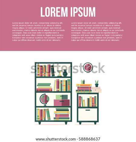 Living Room Furniture Bookcase Bookshelf Clock Stock Vector (2018 ...