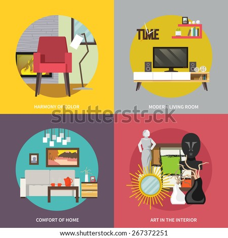 Living room furniture design concept set with modern home interior elements isolated vector illustration - stock vector