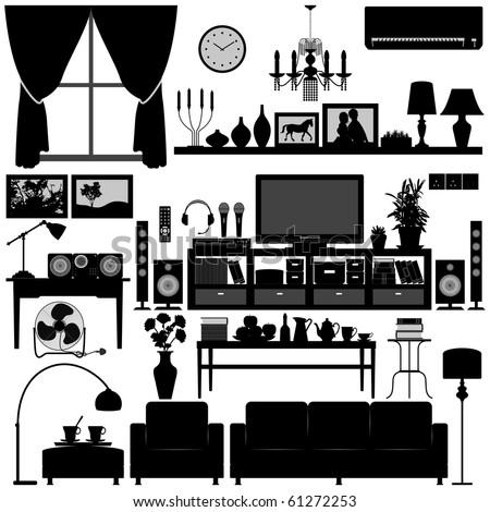 Living Room Furniture Home Interior Design - stock vector