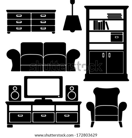 Living room furniture icons set,  black isolated silhouettes, vector illustrations - stock vector