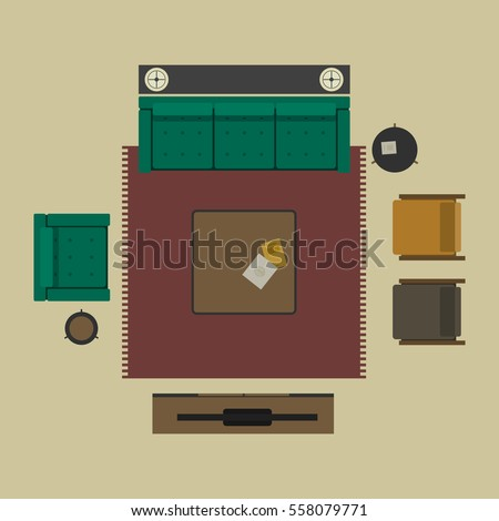 Living room objects furniture and equipment vector illustration - Living Room Furniture Top View Vector Stock Vector