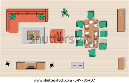 living room top view living room furniture top view color stock vector 14256