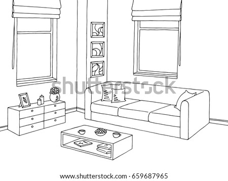 living room clipart black and white. living room. graphic black white interior. sketch illustration vector. room clipart and