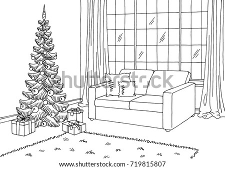 Living Room Graphic Christmas Tree Black Stock Vector