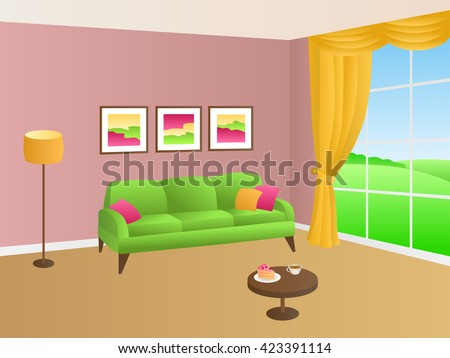 Living Room Green Pink Sofa Yellow Stock Vector 423391114 - Shutterstock