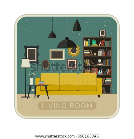 Living room grunge interior with furniture. Vector illustration of living room in flat style. - stock vector