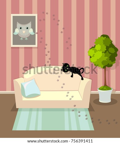 Living Room House Sofa Picture Cat Stock Vector 756391411 - Shutterstock