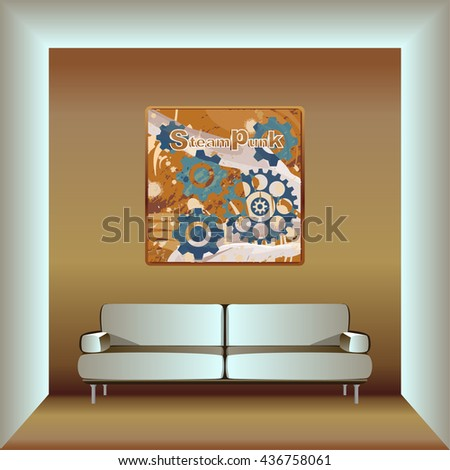 living room in steampunk style - stock vector