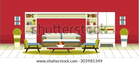 Living room inetrer apartment with furniture in the flat style - stock vector