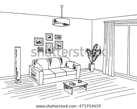 Sketch of a room stock images royalty free images for Living room outline