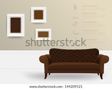Living room interior concept, Vector illustration modern template design - stock vector
