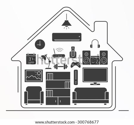 Living room interior design silhouette icons set  House furniture and  appliances vector symbols isolated onLiving Room Interior Design Silhouette Icons Stock Vector  . Living Room Appliances. Home Design Ideas