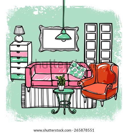 Living room interior design template with sketch furniture vector illustration - stock vector