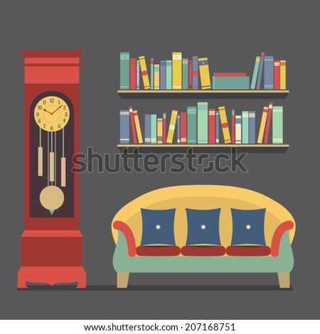 Living Room Interior Design Vector Illustration - stock vector