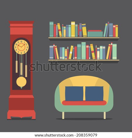 Living room interior design vector illustration stock for Room design vector