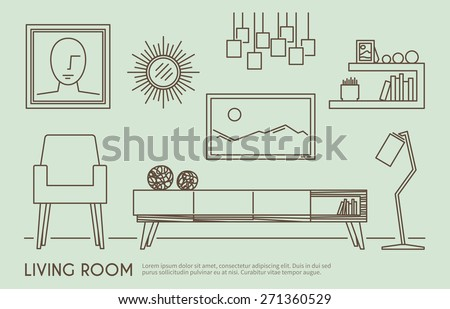 Living room interior design with outline furniture set vector illustration - stock vector