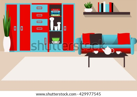 Living room interior in bright colors vector illustration. Wardrobe, table, sofa and plants. The interior of the house. Furniture for the living room - stock vector