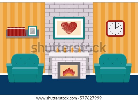 Living Room Interior In Flat Design With Fireplace And Armchairs Vector Background Cartoon Lounge